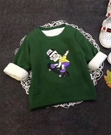Aww Hunnie Skating Boy Print Warm Tee - Green