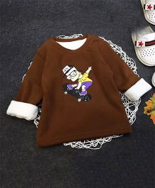 Aww Hunnie Skating Boy Print Warm Tee - Brown