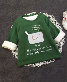 Aww Hunnie Bird Print Warm Tee - Green