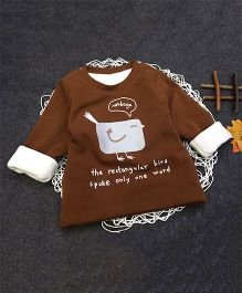 Aww Hunnie Bird Print Warm Tee - Brown