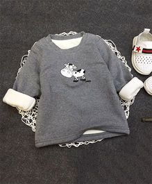 Aww Hunnie Cow Print Warm Tee - Grey