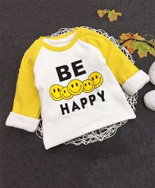 Aww Hunnie Be Happy Print Warm Tee - Yellow