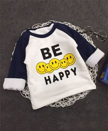 Aww Hunnie Be Happy Print Warm Tee - Blue