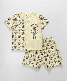 Cucumber Half Sleeves Vest & Shorts Set Magic Show Print - Light Yellow