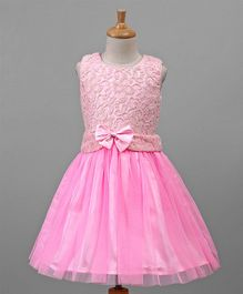Babyhug Party Wear Sleeveless Frock Bow Applique - Pink