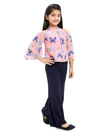 Tiny Baby Butterfly Print Top & Palazzo Set - Navy
