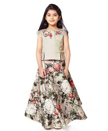Tiny Baby Top With Floral Long Skirt - Beige