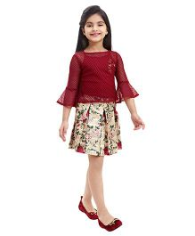 Tiny Baby Net Top With Printed Skirt - Maroon