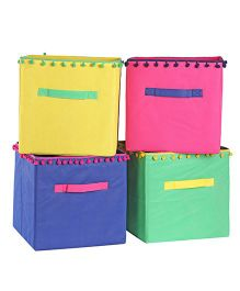 My Gift Booth Storage Boxes Pom Pom Design Pack of 4 - Multi Color