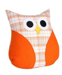 My Gift Booth Cushion Owl Shaped Checks Design - Orange