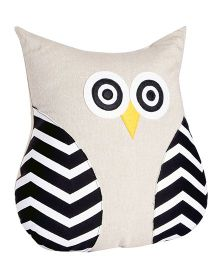 My Gift Booth Cushion Owl Shaped Stripe Design - Off White Black