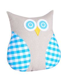 My Gift Booth Cushion Owl Shaped Checks Design - Blue