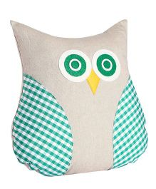 My Gift Booth Cushion Owl Shaped Checks Design - Green