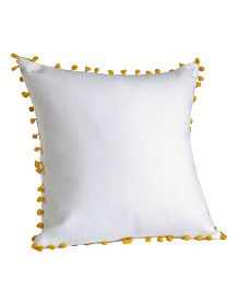 My Gift Booth Cushion Cover Pom Pom Design - White