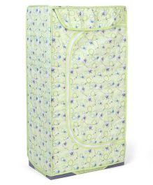 Storage Unit With 3 Shelves Wind Mill Print - Light Green