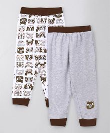 Babyhug Full Length Lounge Pant Panda Print Pack of 2 - Brown & Grey