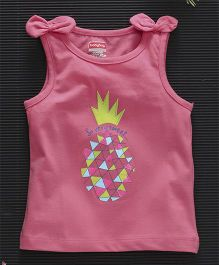 Babyhug Sleeveless Tee Sequin Pineapple Design - Pink