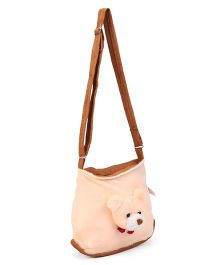 IR Shoulder Bag With Teddy Face Design - Cream Brown