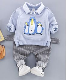 Pre Order - Awabox Penguin Print Sweatshirt & Pants - Light Blue