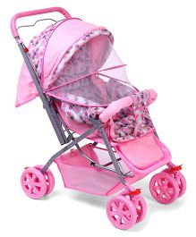 Baby Stroller Cum Pram With Mosquito Net Square Print - Pink