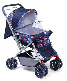 Baby Pram Cum Stroller With Mosquito Net - Navy Blue