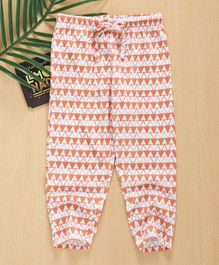 Babyhug Full Length Allover Printed Leggings With Drawstring - Coral