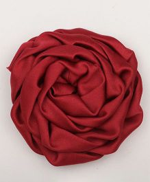 Pikaboo Rolled Satin Rose Clip - Maroon
