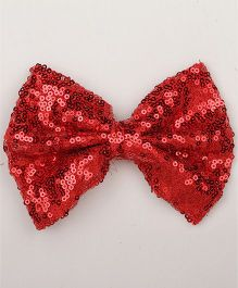 Pikaboo Big Sequin Bow Clip - Red