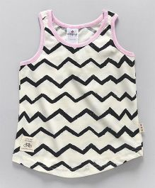 Ollypop Sleeveless Top Allover Chevron Print - Cream & Pink