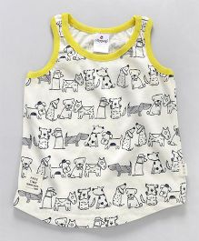 Ollypop Sleeveless Top Allover Animal Print - Cream & Yellow