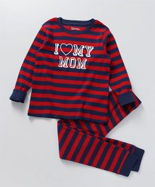 Ventra I Love Mom Print Nightsuit - Red