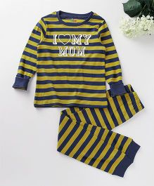 Ventra I Love Mom Print Nightsuit - Yellow And Blue