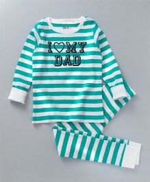 Ventra I Love Dad Print Nightsuit - Blue & White