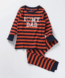 Ventra I Love Dad Print Nightsuit - Red & Blue
