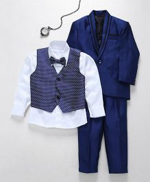 Jeet Ethnics Coat With Shirt Waistcoat Tie And Pant Set - Blue