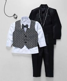 Jeet Ethnics Coat With Shirt Waistcoat Tie And Pant Set - Black