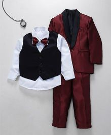 Jeet Ethnics Coat With Shirt Waistcoat Tie And Pant Set - Maroon