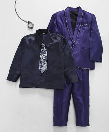 Jeet Ethnics Coat With Shirt Tie And Pant Set - Blue