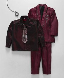 Jeet Ethnics Coat With Shirt Tie And Pant Set - Maroon