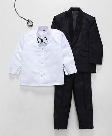 Jeet Ethnics Coat With Shirt Bow And Pant Set - Black