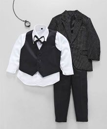 Jeet Ethnics Coat With Shirt Waistcoat Bow And Pant Set - Black