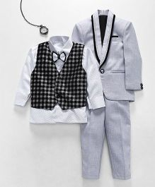 Jeet Ethnics Coat With Shirt Waistcoat Bow And Pant Set - Grey