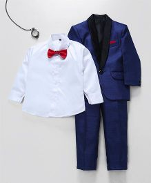 Jeet Ethnics Coat With Shirt Bow And Pant Set - Blue