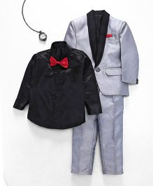 Jeet Ethnics Coat With Shirt Bow And Pant Set - Grey