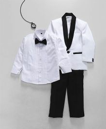 Jeet Ethnics Coat With Shirt Bow And Pant Set - White
