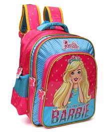 Barbie With Tiara School Bag Pink Blue - 14 inches