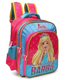 Barbie With Tiara School Bag Pink Blue - 18 inches