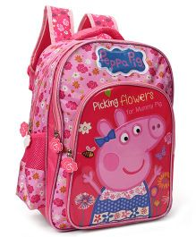 Peppa Pig School Bag Floral Print Pink - 16 inches
