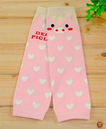 Milonee Cute Hearts Print Legwarmer - Light Pink