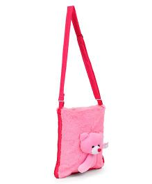 IR Teddy Applique Soft Fur Shoulder Bag - Pink